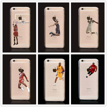 Basketball Star Michael Jordan Kobe Bryant LeBron James Curry Transparent Hard Case For iPhone 5/5s/SE/6/6s/6 plus/6s plus