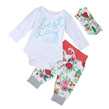 3PCS baby clothes Kids Baby Girls Letters Long Sleeve Romper+Pant Headband Set Clothes drop shipping