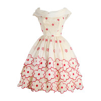 1950s Whimsical Floral Embroidered Organza Dress
