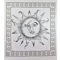 Black and White Sparkling Sun Moon Wall Tapestry, Fringed Sun Bedding on RoyalFurnish.com