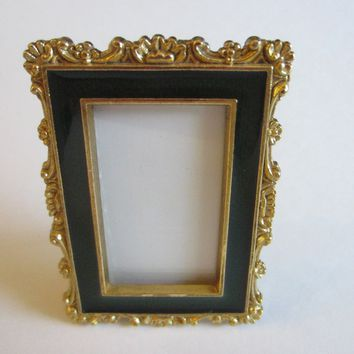 Brass Miniature Green Enamel Ornamental Photo Frame Self Stand