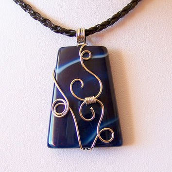 Sale - Wire Wrapped Blue Agate Pendant - Necklace - Wire work - Art Jewelry - Agate Necklace