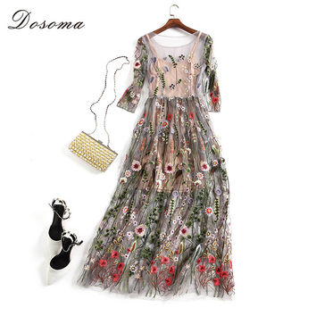 DOSOMA Runway Dresses Women 2017 Gorgeous Half Sleeves Sheer Mesh Embroidery Long Dresses Bohemian Brand Style Vestidos De Festa