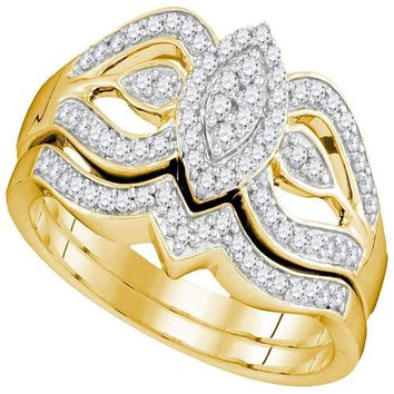 10kt Yellow Gold Women's Round Diamond Oval Cluster Bridal Wedding Engagement Ring Band Set 1/3 Cttw - FREE Shipping (US/CAN)