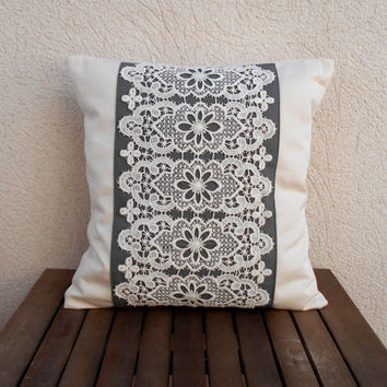 Decorative Throw Pillow, Lace Pillow, Grey Pillow,  Pillow Cover 16x16, Natural Pillow Cover,  Lace Pillow Cover