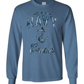 Proud Navy Cousin Long-Sleeve T-Shirt (Camo)