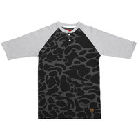 Bronx Henley Baseball Shirt Black Duck Camo