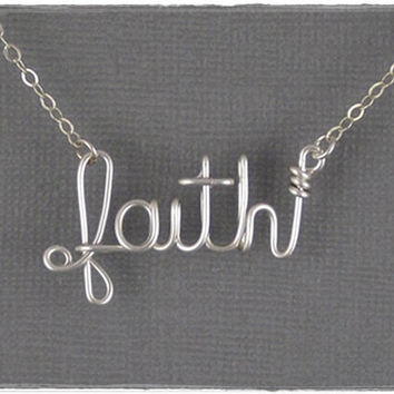 FREE SHIPPING!!!  faith Wire Word Pendant Necklace