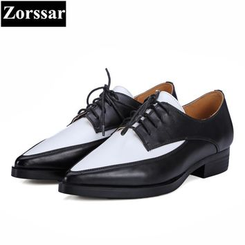{Zorssar} Women Shoes flat heel Fashion Real leather pointed toe Women flats shoes Casual lace-up Womens dress Oxford shoes