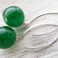 Green emerald jade earrings, 925 sterling silver earrings, stone earrings, drop earrings, dangle earrings, summer earrings, modern jewelry