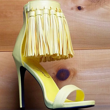 Pastel Yellow Open Toe Tassel Fringe Closed Back Stiletto Heel Shoe