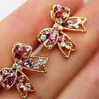 Sparkly Bow Colorful Rhinestone Earrings