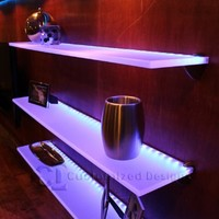 "LED Lighted Floating Shelves - 2' Long x 4.5"" Deep w/ Power Supply & LED Controller"