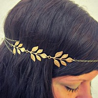 grecian leaves chain headband, head chain
