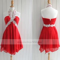 Halter Top With Applique Red Homecoming Dress/ Cocktail Dress/ Homecoming Dress/ Short Prom Dress/ Formal Dress