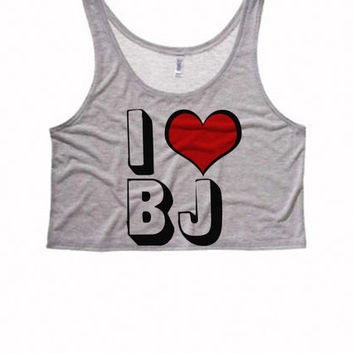 I LOVE BJ Boxy Crop Top | Funny Adult Womens Felicia Shirts Bae Tank Top Crop Top Boxy Tank Suggestive Sexy Sassy Crop Top Sexy Womens Tops
