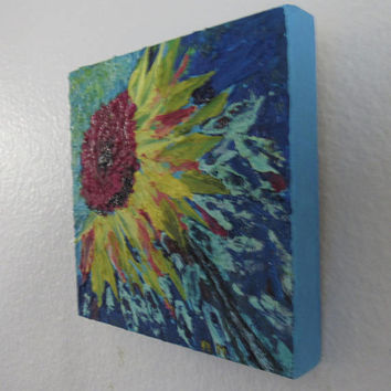 Sunflower Abstract Acrylic Impasto Painting on 6x6 inch Cradled Board