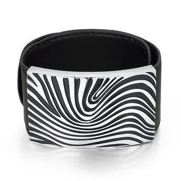 Leather and Stainless Steel Zebra Print Flexible Wrap Bracelet