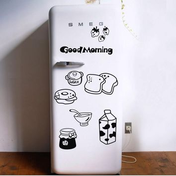 Good morning breakfast combination wall decals Warm family dining room kitchen fridge decorative wall stickers free shipping