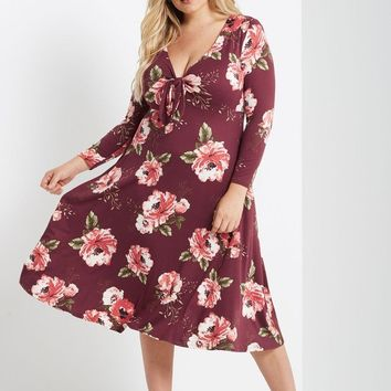 Collin Floral Fit and Flare Midi Dress Plus Size