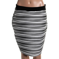 NY Collection Womens Ribbed Knit Pattern Pencil Skirt
