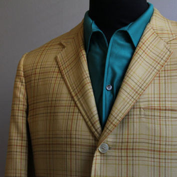 Vintage Hastings Bromwell Yellow Plaid Mens Sports Coat Blazer