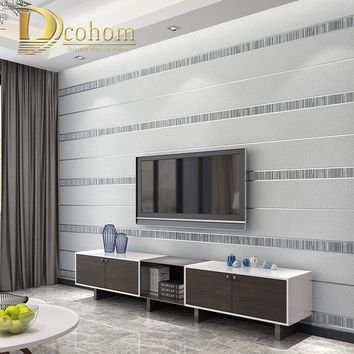 High Quality Stereoscopic 3D Fabric Flock Wallpaper For Living Room Metallic Line Striped Wall Paper Home Decor Sliver Gray