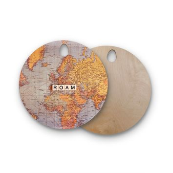 "Sylvia Cook ""Roam Map"" World Round Wooden Cutting Board"
