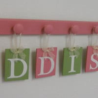 Pink and Green Baby Name Wall Hanging Sign Set Includes 7 Wooden Peg Painted Pinks. Personalized Letters for ADDISON