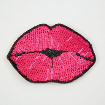 Kiss - Lips Embroidered Patch / Iron-On Applique - Hot Pink