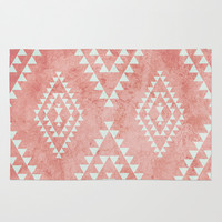 mint & coral tribal pattern (2) Rug by Dani