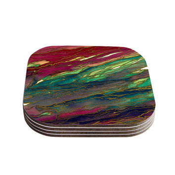 "Ebi Emporium ""Agate Magic - Bold Red Aqua"" Green Maroon Coasters (Set of 4)"