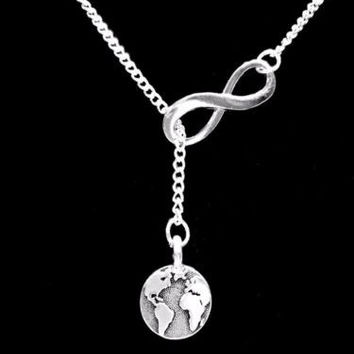 Earth Gift Globe Map Geography Atlas Word Planet Infinity Lariat Necklace