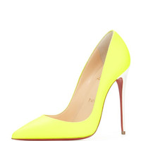Christian Louboutin So Kate Fluorescent Red Sole Pump, Yellow