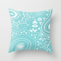 Paisley Blue Throw Pillow by ALLY COXON | Society6