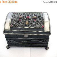 SALE Jewelry box,jewelry chest,decorated box,rectangle treasure box,pirates chest,room decor