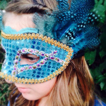 Turquoise Gypsy mask masquerade mask   by SoVintageCouture on Etsy