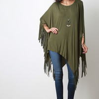 Raw Asymmetrical Fringe Poncho Top