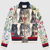 Gucci Trending Women Loose Four Tiger Head Print Stitching Embroidery Zipper Cardigan Jacket Coat