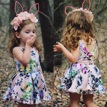 Toddler Kids Baby Girls Floral Romper Dress Bodysuit Jumpsuit Outfits Clothes