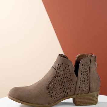 Perforated Detail Split Shaft Low Ankle Booties