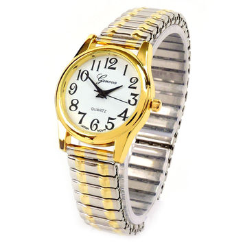 2Tone Medium Size Geneva Fancy Stretch Band Women's Watch