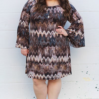 Waves of Fun Tunic Dress in Brown/Pink {Curvy}