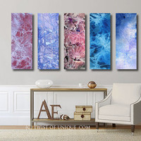 Large industrial wall art  / CUSTOM 5 Panel (36 Inches x 12 Inches) Big abstract art / purple, Blue, mauve, royal purple, indigo