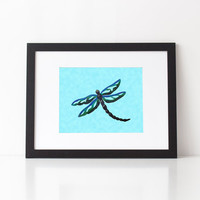 Dragonfly art print in blue and green, mixed media art, choice of print sizes and finish, painted dragonfly print, nursery art