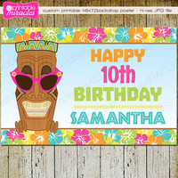 "Tiki backdrop poster, Printable Hawaiian luau backdrop banner, Tropical birthday banner, 48x72"" digital personalized party decoration"