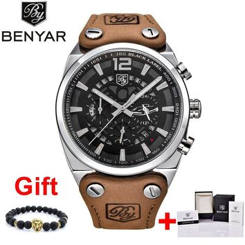 BENYAR Sport Men Watches Skeleton Military Chronograph Quartz Man Outdoor Big Dial Watch Army Male Clock relojes hombre SAAT