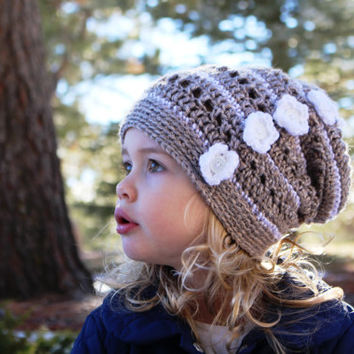Girls Slouchy Hat, Slouchy Hat, Hat with Flowers, Crochet Slouchy - a crocheted slouchy hat with flowers in 3 sizes (Toddler, Child, Adult)