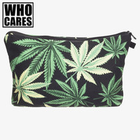Black weed 3D printing black Cosmetic Cases women makeup bag 2017 Fashion who cares cosmetic bag trousse de maquillage neceser