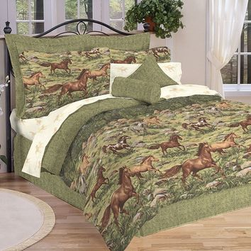 Wild Horses 8-pc. Bed Set (Green)